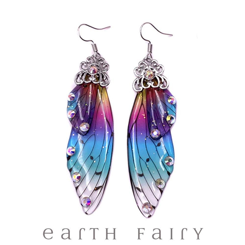 Fairy Wing Earrings - Rainbow, Gold from The Fairy Inspired Jewellery Collection by Earth Fairy