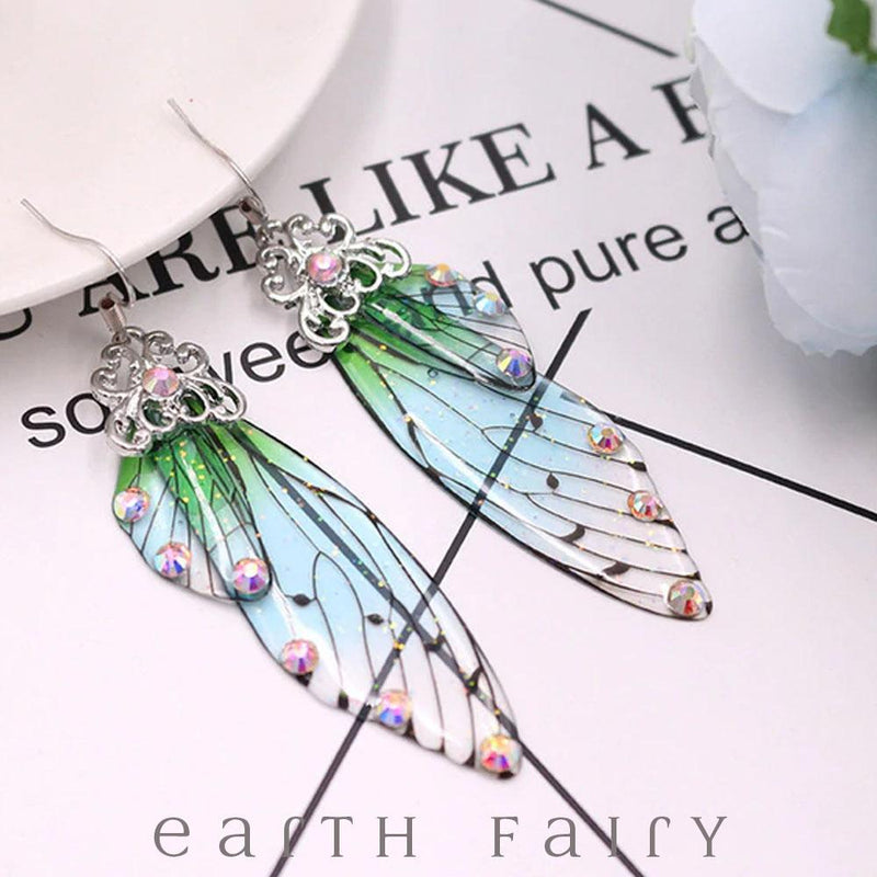 Fairy Wing Earrings - Summer Sky, Gold from The Fairy Inspired Jewellery Collection by Earth Fairy