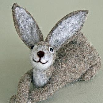 Fairy Play Felted Lying Hare Earth Fairy