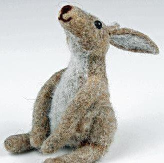 Fairy Play Felted Moon Gazing Hare Earth Fairy