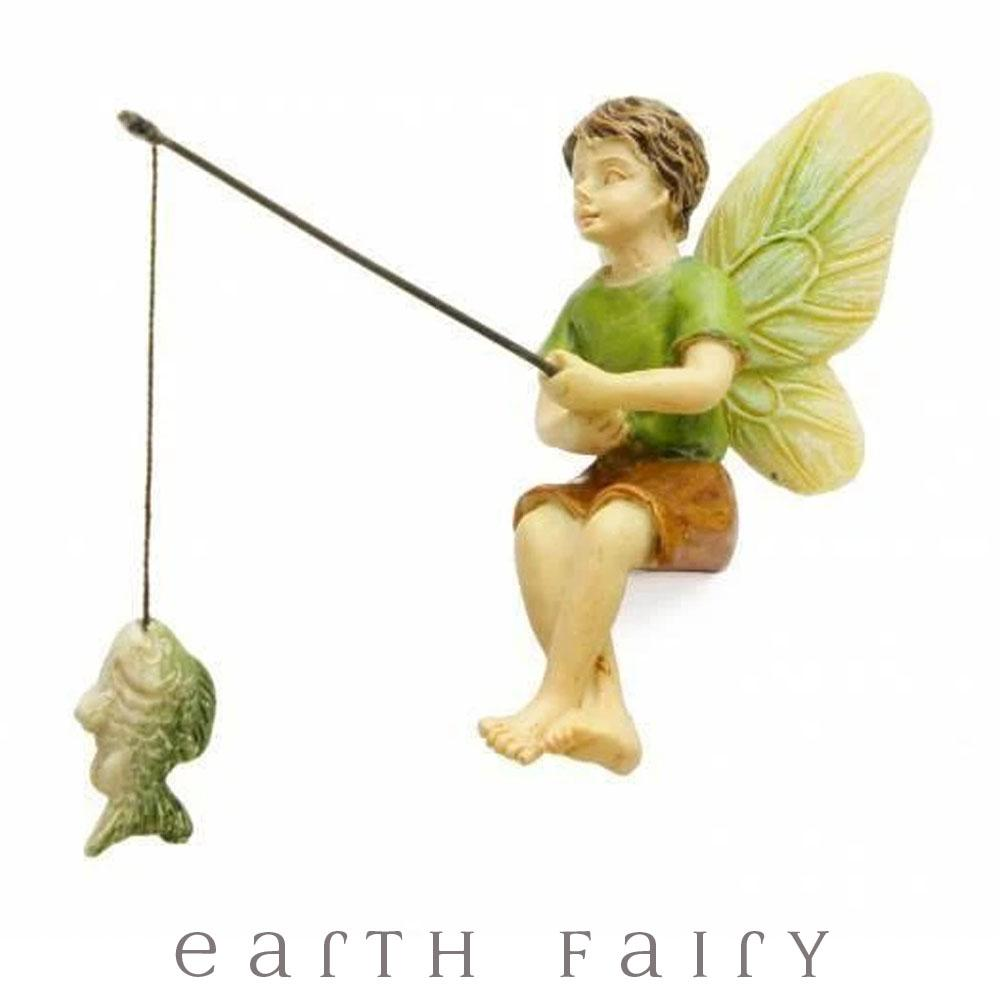 Fishing Boy Fairy from The Woodland Knoll Fairy Garden Collection by Earth Fairy