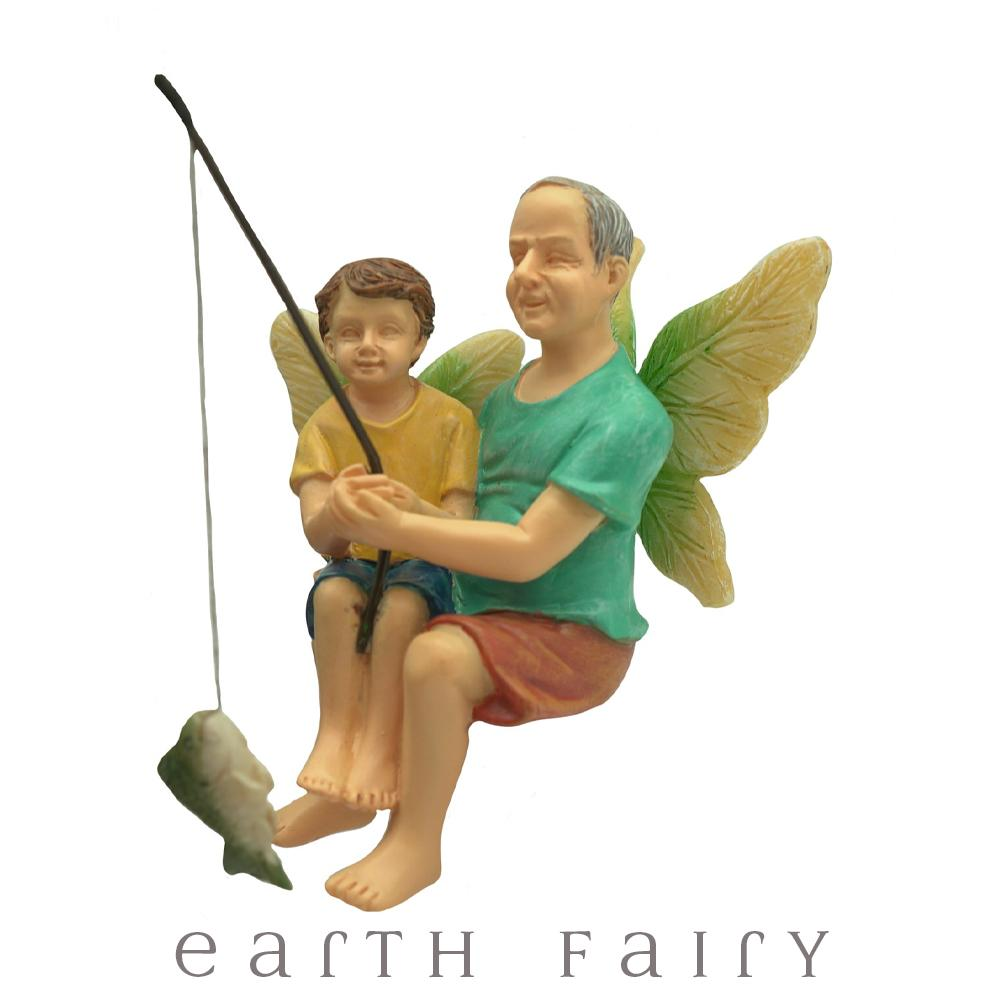 Fishing with Grandpa Fairy Figurine, from The Miniature Fairy Garden Figurine Collection by Earth Fairy