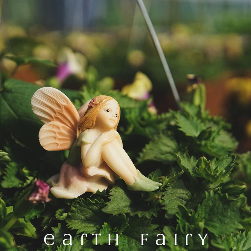 Flower Fairy Fiona Daydreaming Miniature Figurine, from The Miniature Fairy Garden Figurine Collectino by Earth Fairy