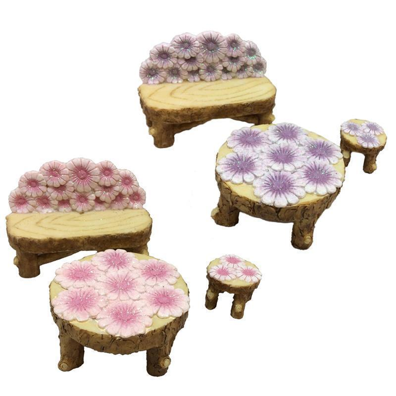 Flower Garden Fairy Furniture - Set of Three | Fairy Garden furniture - Australia | Earth Fairy