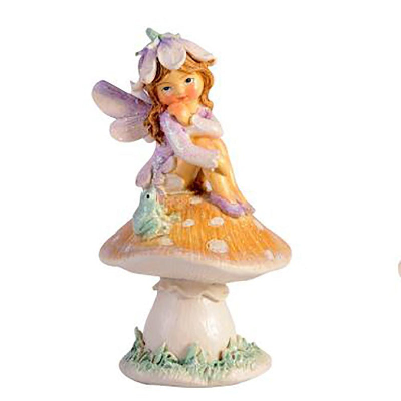 Flower Garden Fairy on Mushroom With Frog | Fairy Garden Figurines - Australia | Earth Fairy