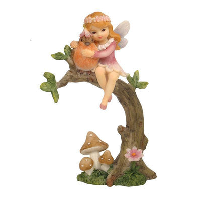 Fairies & Friends Flower Garden Fairy <br> on Branch Dusky Pink Earth Fairy