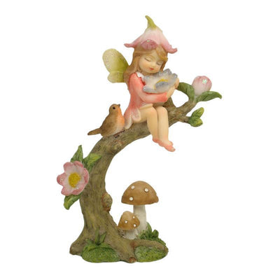 Fairies & Friends Flower Garden Fairy <br> on Branch Rose Pink Earth Fairy