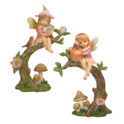Fairies & Friends Flower Garden Fairy <br> on Branch Earth Fairy