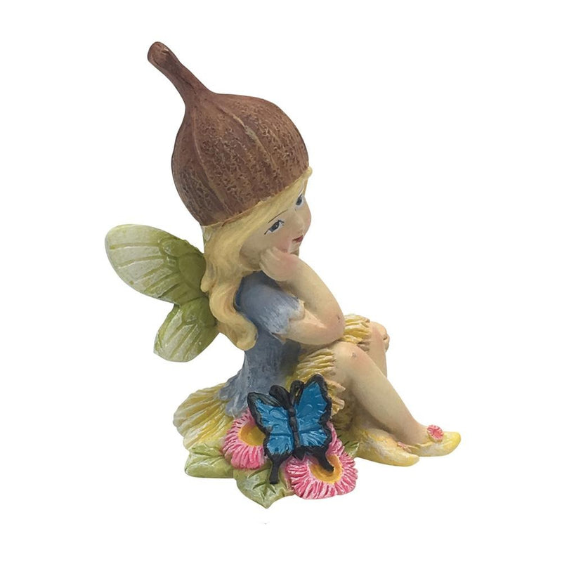 Flower Garden Gumnut Fairy with Butterfly | Fairy Figurines & Miniatures - Australia | Earth Fairy