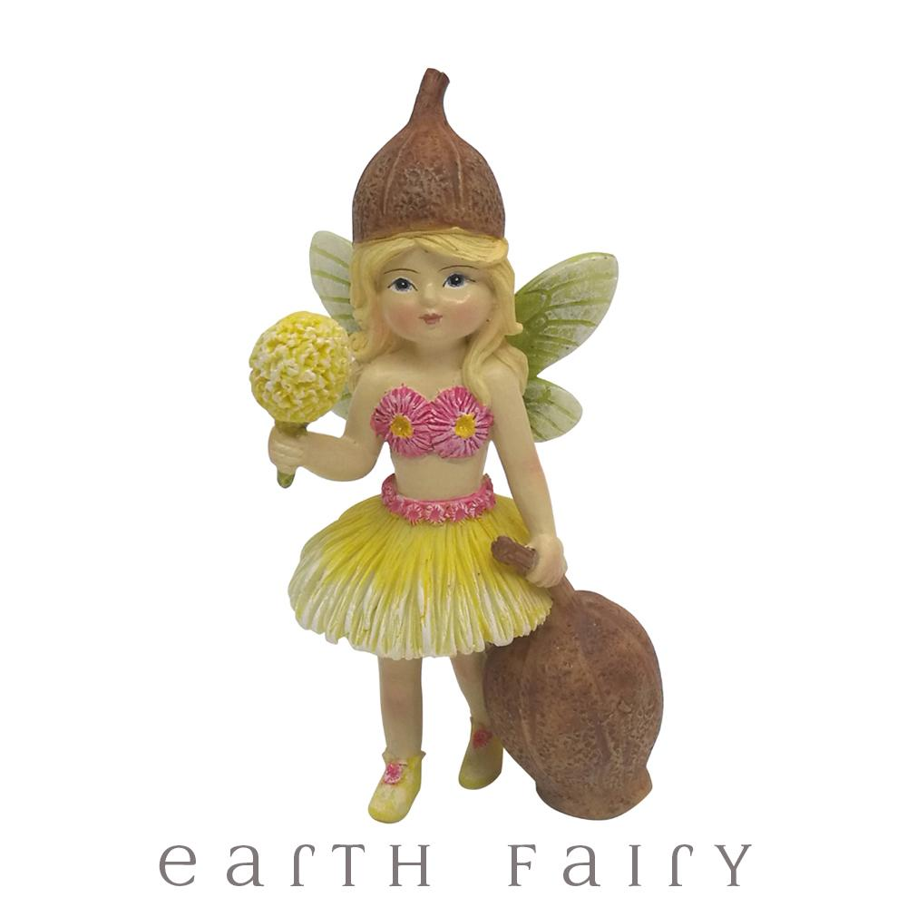 Flower Garden Gumnut Fairy With Wattle Blossom Wand | Fairy Figurines - Australia | Earth Fairy