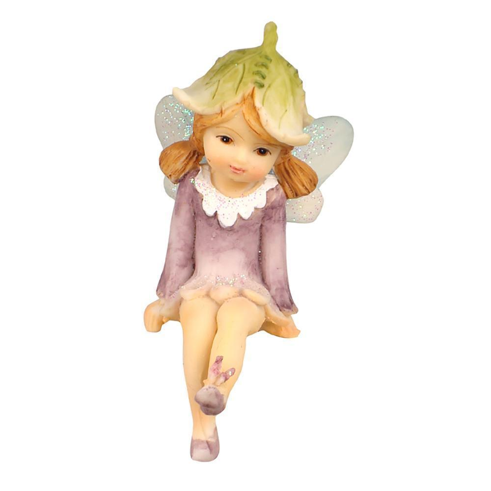 Fairies & Friends Flower Garden Shelf Sitting Fairy Lavender with Butterfly on Foot Earth Fairy