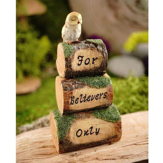 'For Believers Only' Wood Cairn with Owl  - Fairy Gardens - Earth Fairy