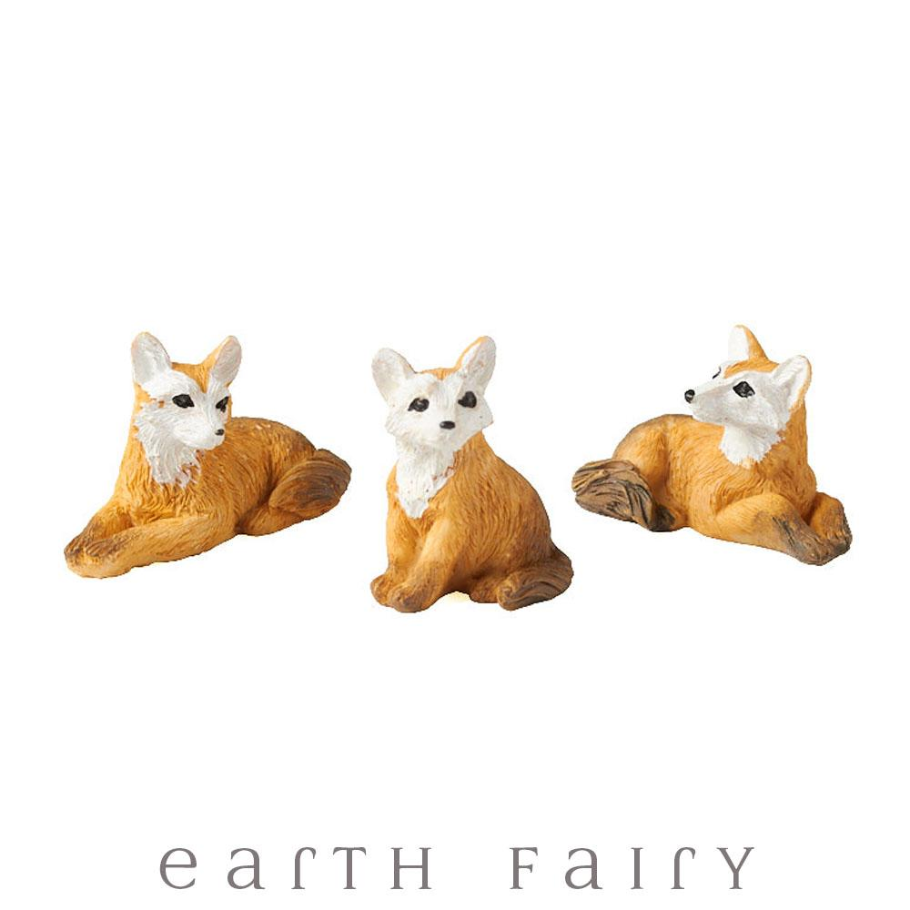 Miniature Foxes - Set of 3, from The Fairy Garden Miniature Animal Collection by Earth Fairy