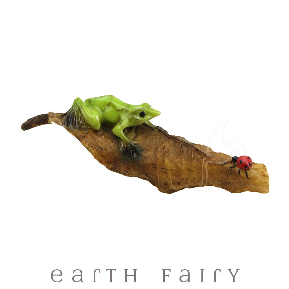 Frog and Ladybug on a Leaf | Fairy Gardens & Collectible Miniatures | Earth Fairy
