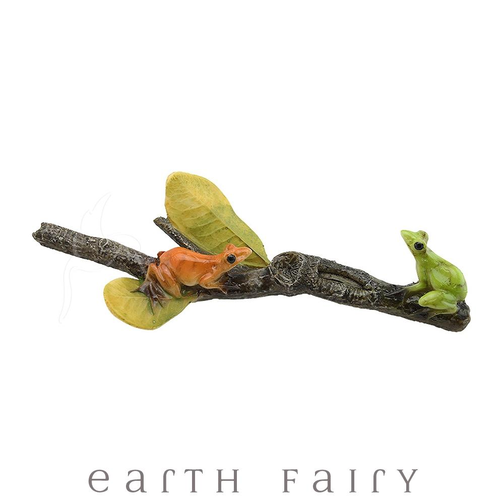 Frogs Sitting on a Twig | Fairy Gardens & Collectible Miniatures | Earth Fairy