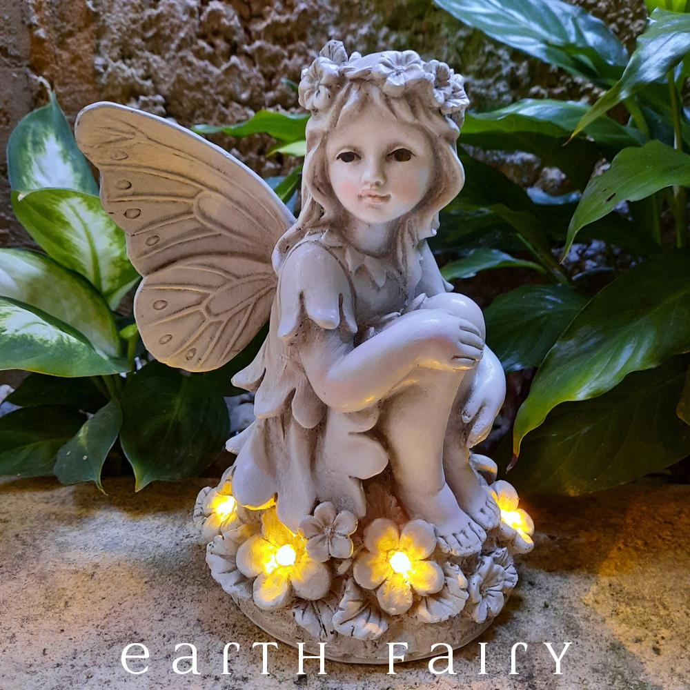 Garden Fairy Sculpture with LED Light, from The Garden Sculpture Fairy Collection by Earth Fairy