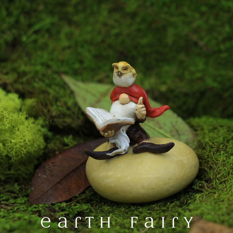polyresin miniature gnome figurine, posed sitting on a rock with a book and an owl sitting upon his head
