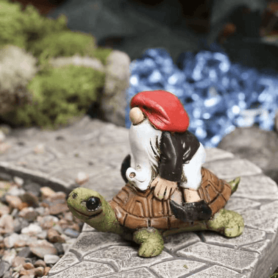 Fairies & Friends Garden Gnome Riding on a Turtle Earth Fairy