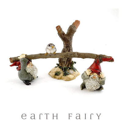 Garden Gnomes Playing on Seesaw, from The Miniature Gnome Figurine Collection by Earth Fairy