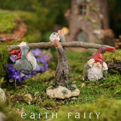 Garden Gnomes Playing on Seesaw, Garden Setting, from The Miniature Gnome Figurine Collection by Earth Fairy