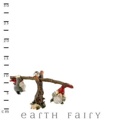 Garden Gnomes Playing on Seesaw, shown with scale ruler, from The Miniature Gnome Figurine Collection by Earth Fairy