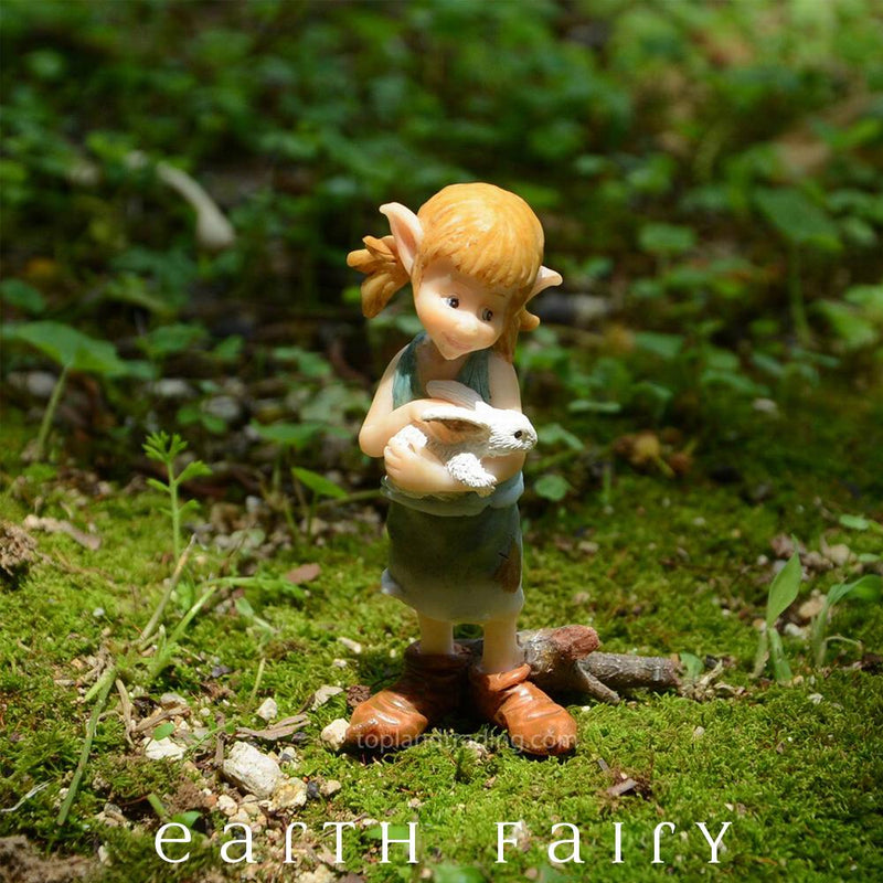 Garden Pixie Hugging a Bunny | Fairies & Friends | Earth Fairy