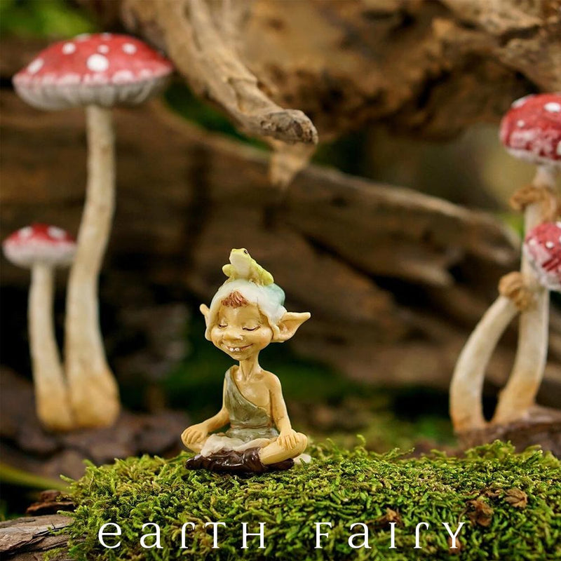 Garden Pixie Meditating with Frog, from The Pixie Collectible Figurine Collection by Earth Fairy