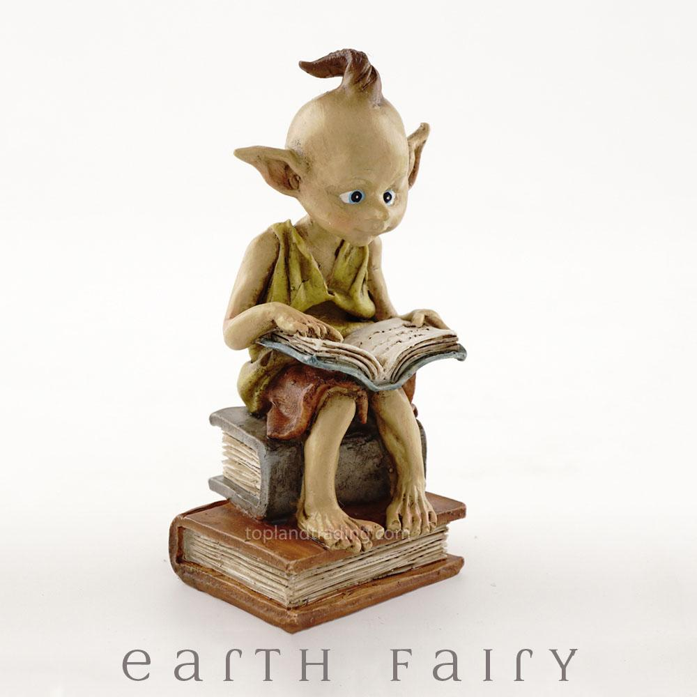 Garden Pixie Reading a Book | Garden Pixies & Miniature Figurines | Earth Fairy