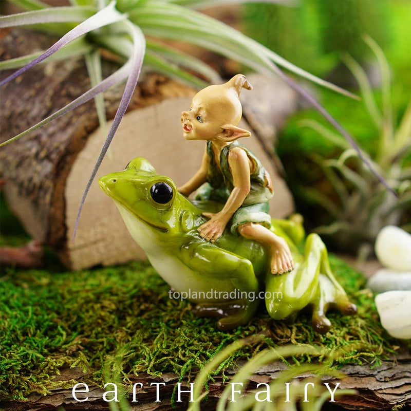 Garden Pixie Riding A Frog | Fairy Garden Figurines - Australia | Earth Fairy