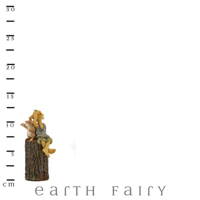 Garden Pixie Singing on Tree Stump with Scale Ruler | Pixies, Gnomes and Elves | Earth Fairy