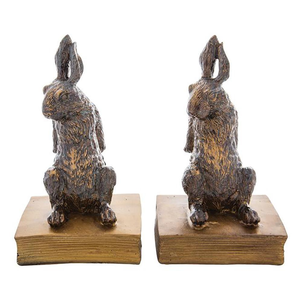 Room Accents Gilded Bunny Bookends Earth Fairy