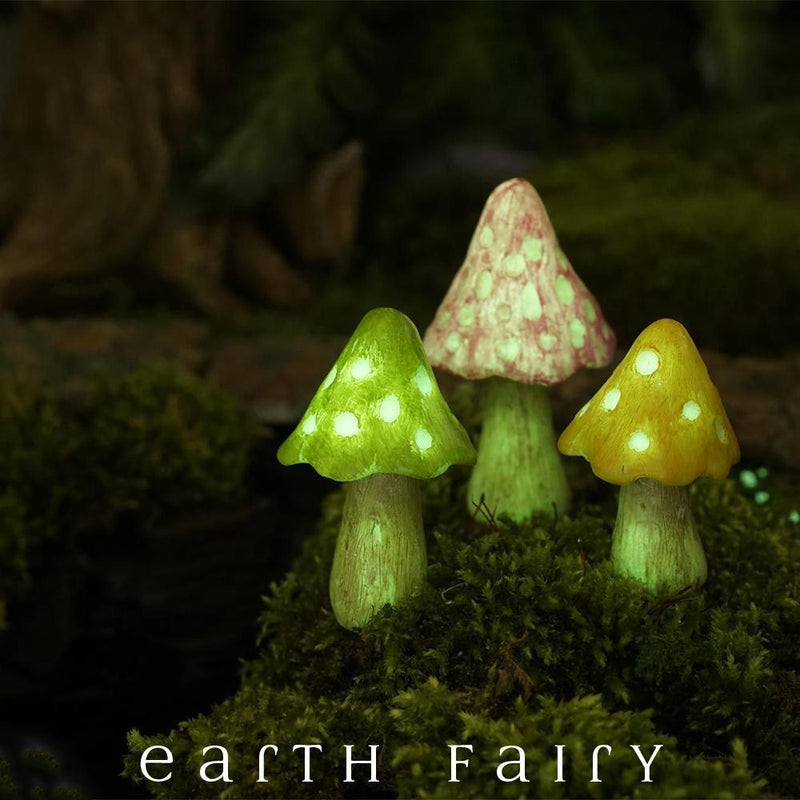Glow in the Dark Mushrooms - Set of 3 | Fairy Garden Landscaping - Australia | Earth Fairy