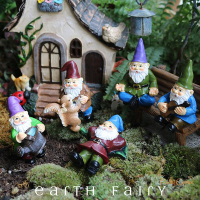 Gnome Dancing with Squirrel, displayed as part of the Set of 5 Gnomes, from The Miniature Fairy Garden Gnome Collection by Earth Fairy