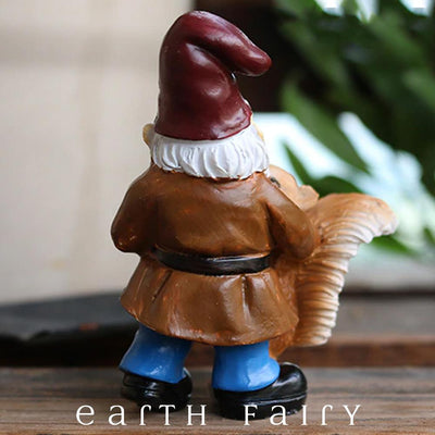 Gnome Dancing with Squirrel from The Miniature Fairy Garden Gnome Collection by Earth Fairy