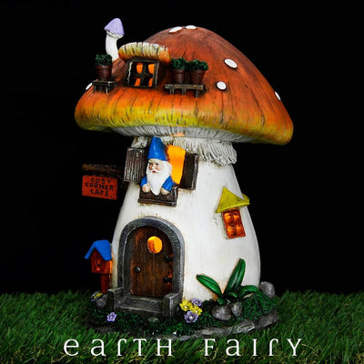 Gnome in a Mushroom House - Night View | Fairy Garden Houses - Australia | Earth Fairy
