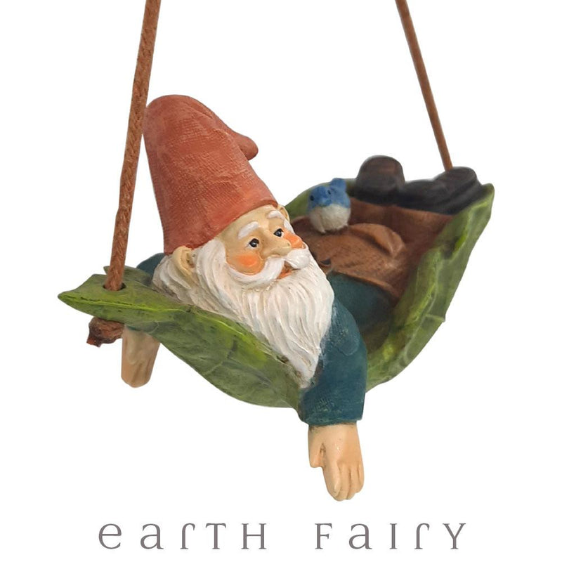 Gnome in a Leaf Swing from The Fairy Garden Gnome Figurine Collection by Earth Fairy