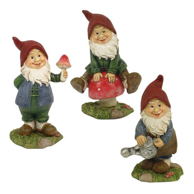 Gnome Sitting on Mushroom - Fairy Garden Figurines - Displayed with Companion Pieces as Set of 3 - Earth Fairy