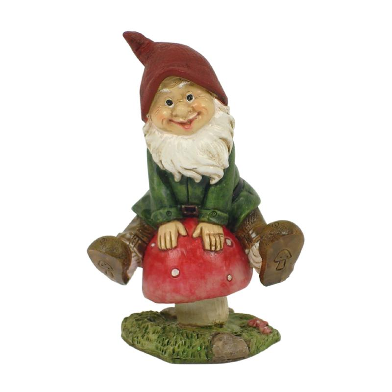 Gnome Sitting on Mushroom - Fairy Garden Figurines - Earth Fairy