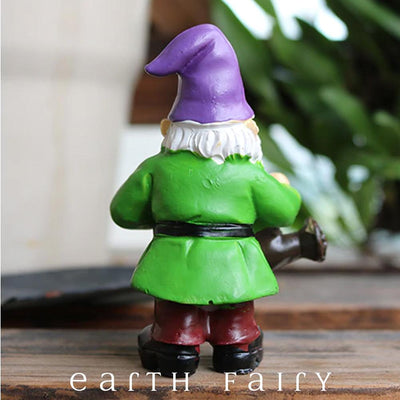 Gnome with Watering Can, Rear View, from The Miniature Fairy Garden Gnome Collection by Earth Fairy