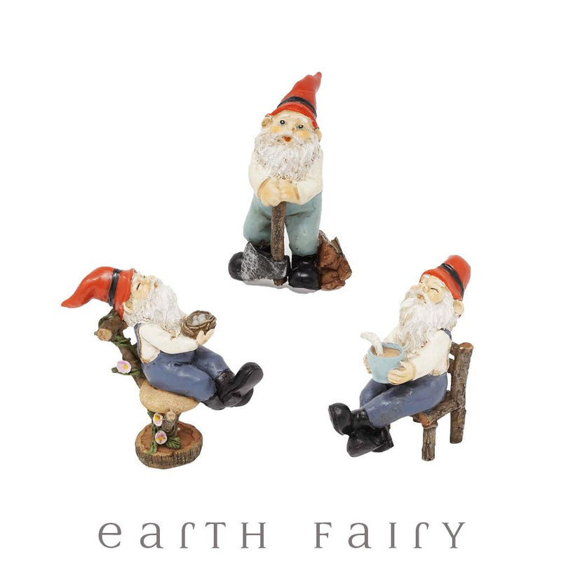 Gnomes - Set of 3 - Mini, from The Miniature Gnome Figurine Collection by Earth Fairy