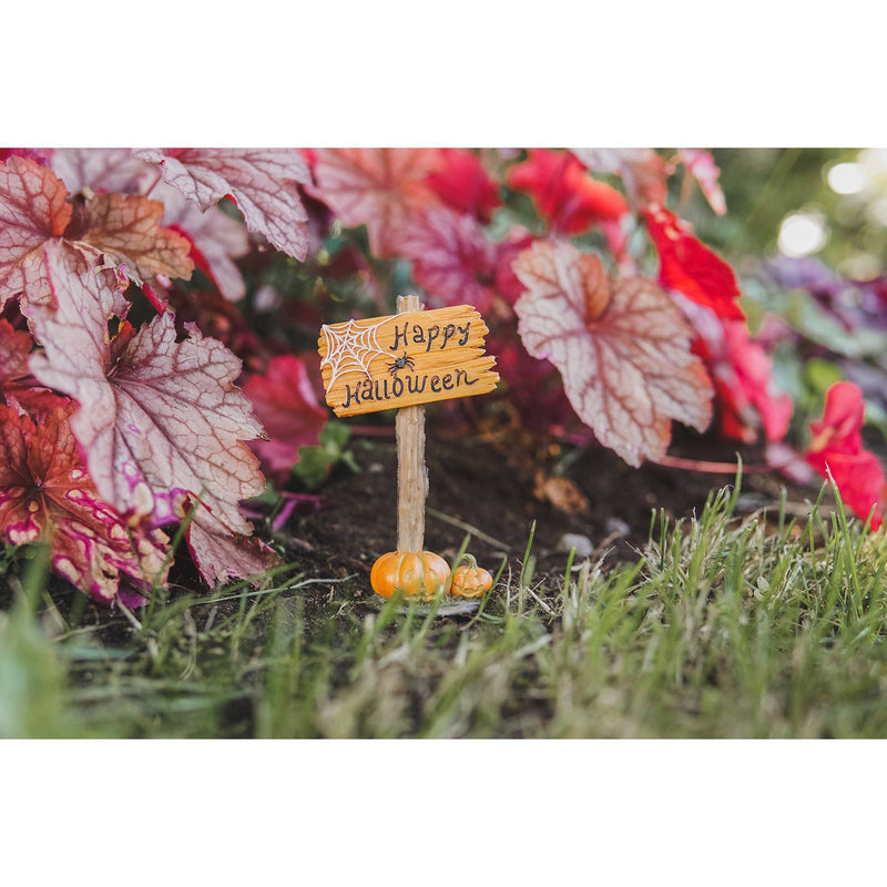 Happy Halloween Sign | Fairy Garden Landscaping - Halloween | Earth Fairy