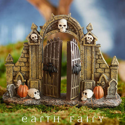 Halloween Gate (Displayed in a Garden Setting) from The Halloween Miniature Collection by Earth Fairy