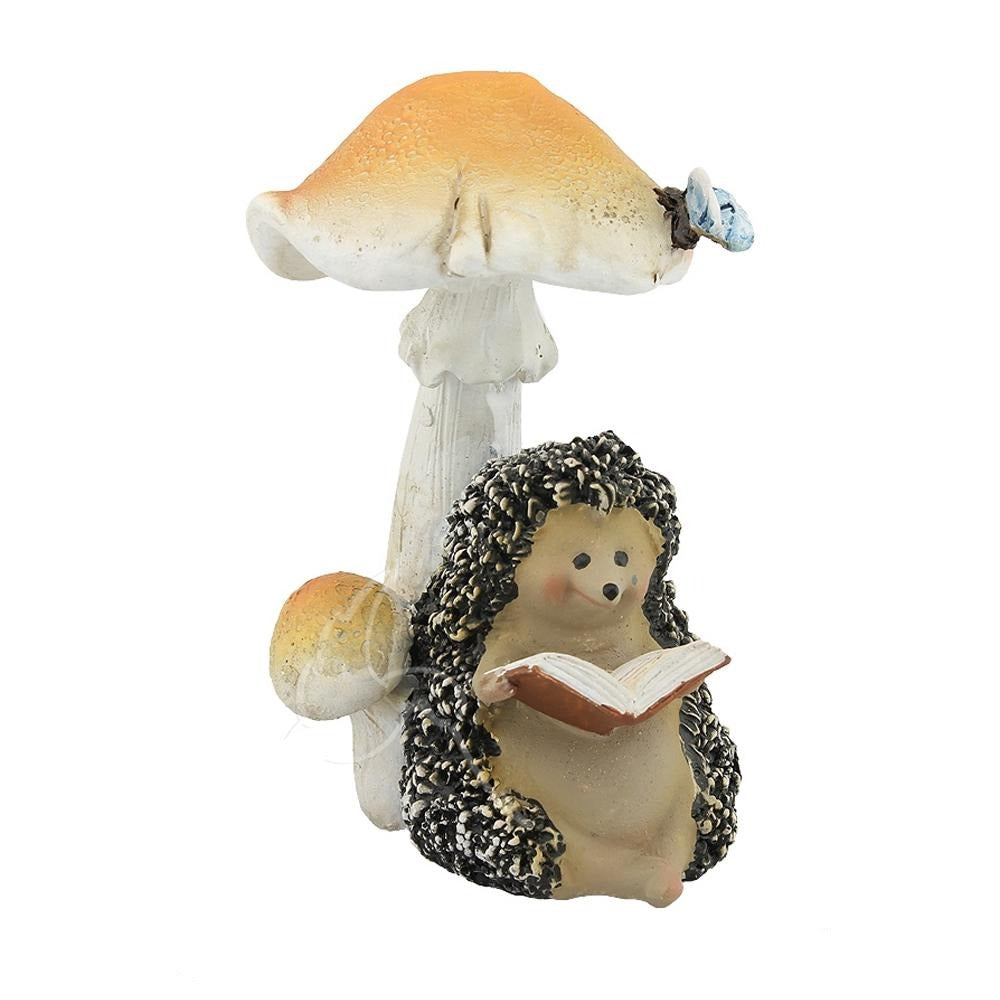 Hedgehog Reading Under a Mushroom | Fairy Gardens & Collectible Miniatures | Earth Fairy