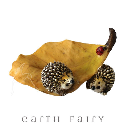 Hedgehogs Playing on a Leaf | Fairy Gardens & Collectible Miniatures | Earth Fairy