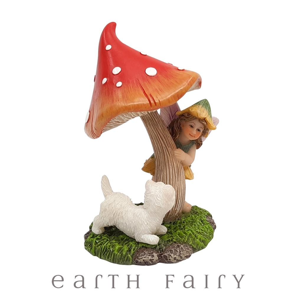 Hide & Seek Fairy with Mushroom & Puppy, from The Miniature Fairy Garden Figurine Collection by Earth Fairy
