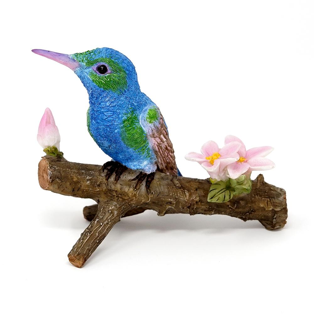 Hummingbird on Branch with Flowers - Blue | Fairy Garden Animals - Australia | Earth Fairy