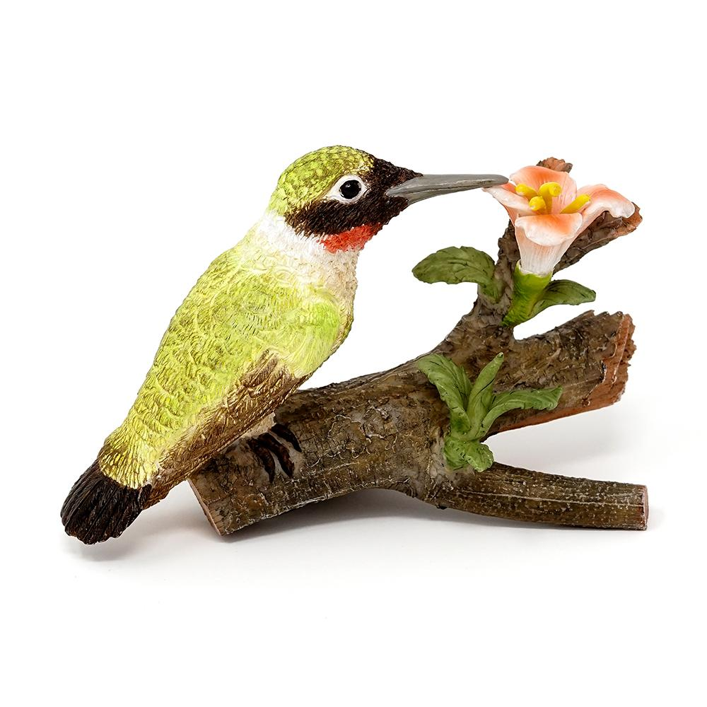 Hummingbird on Branch with Flowers - Green | Fairy Garden Animals - Australia | Earth Fairy