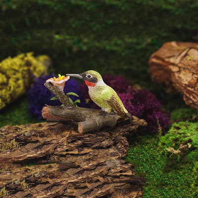 Hummingbird on Branch with Flowers - Green - Displayed in a Garden Setting | Fairy Garden Animals - Australia | Earth Fairy