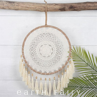 Ivory Crocheted Dream Catcher with Tassels - 45cm | FREE SHIPPING | Earth Fairy