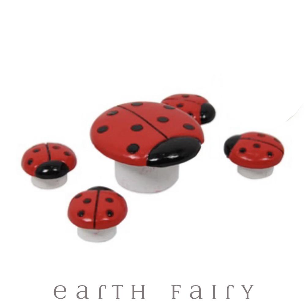 Ladybird Table & Stools - Set of 5 Pieces from The Fairy Garden Furniture Collection by Earth Fairy